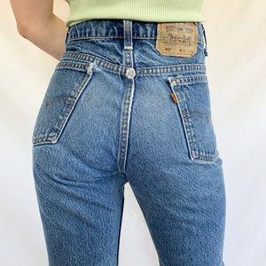 Vintage 80s Levi's 517 Medium Orange Tab Jeans